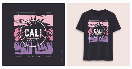 California. Graphic tee shirt design, grunge styled print. Vector illustration