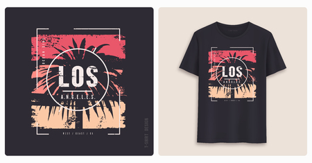 Los Angeles. Graphic tee shirt design, grunge styled print. Vector illustration.