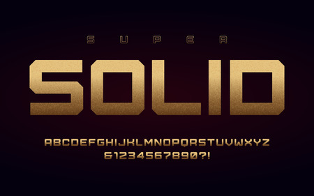 San serif uppercase letters and numbers, alphabet with effect of the gold foil. Standard-Bild - 118851462