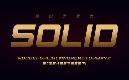 San serif uppercase letters and numbers, alphabet with effect of the gold foil. Vector illustration.