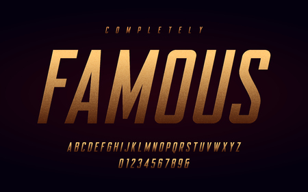Condensed uppercase letters and numbers, alphabet with effect of the gold foil. Vector illustration. Çizim