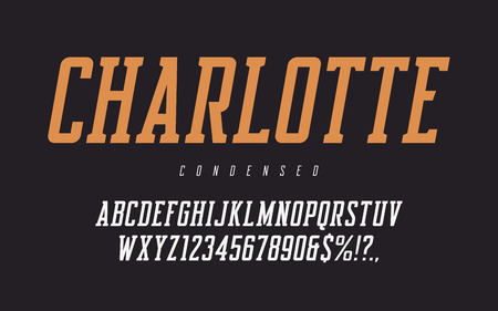 Condensed oblique rerto uppercase letters and numbers, alphabet.
