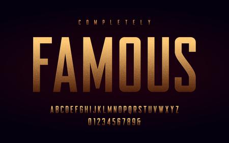 Lettere e numeri maiuscoli condensati, alfabeto con effetto lamina d'oro. Illustrazione vettoriale. Vettoriali