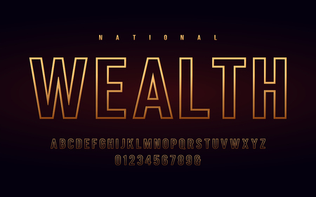 Stylish condensed gold alphabet, uppercase letters and numbers. Vector illustration.