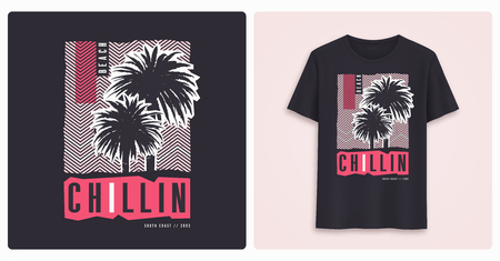 Beaach chillin. Stylish colorful graphic t-shirt design, poster, print with palm trees.