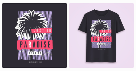 Lost in paradise. Stylish colorful graphic t-shirt design, poster, print with palm trees. Illustration