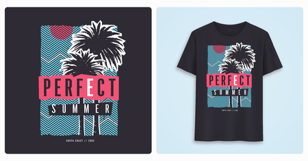 Perfect summer. Stylish colorful graphic t-shirt design, poster, print with palm trees.