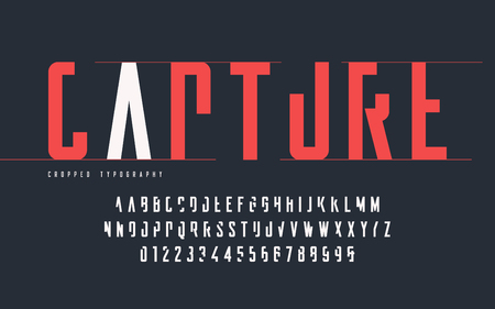 Cropped typography, set of uppercase letters and numbers, alphabet. Çizim