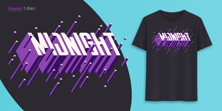 Midnight. Graphic t-shirt design, typography, print with 3d styled text. Illustration