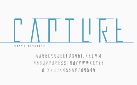 Cropped typography, set of uppercase letters and numbers, alphabet. Illustration