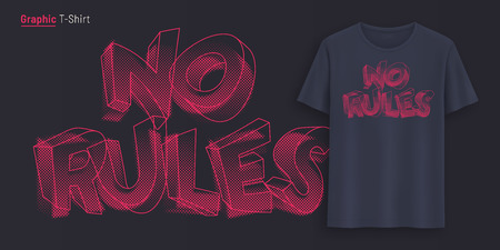 No rules. Graphic t-shirt design, typography, print with stylized text. Illustration