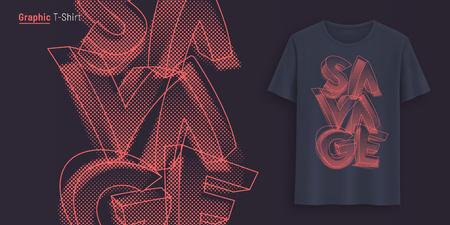 Okrutny. Projekt graficzny koszulki, typografia, nadruk stylizowanym tekstem.