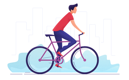 Vector illustration of a young man cycling around the city. Иллюстрация
