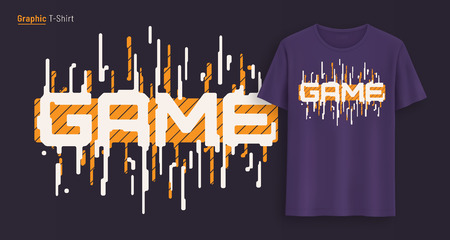 Game. Graphic t-shirt design, typography, print with stylized text. Illustration