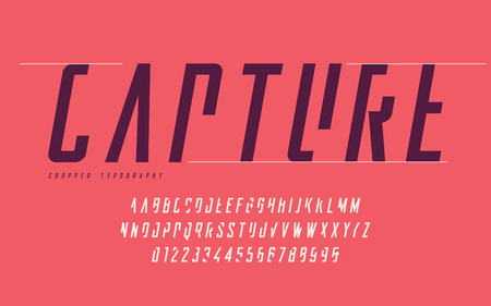Cropped typography, set of uppercase letters and numbers, alphabet. Stock Illustratie