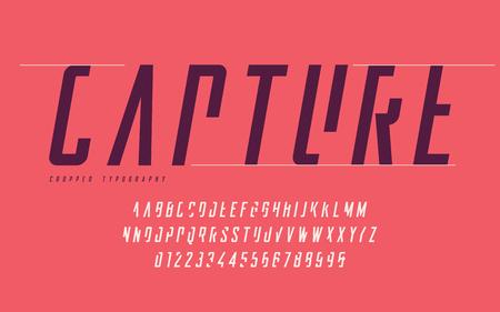 Typographie recadrée, ensemble de lettres majuscules et de chiffres, alphabet. Vecteurs