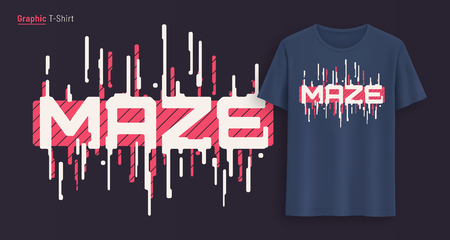 Maze. Graphic t-shirt design, typography, print with stylized text.