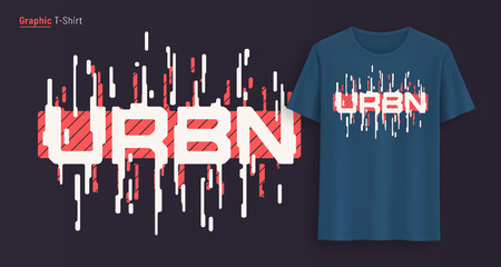 Urban. Graphic t-shirt design, typography, print with stylized text. Illustration