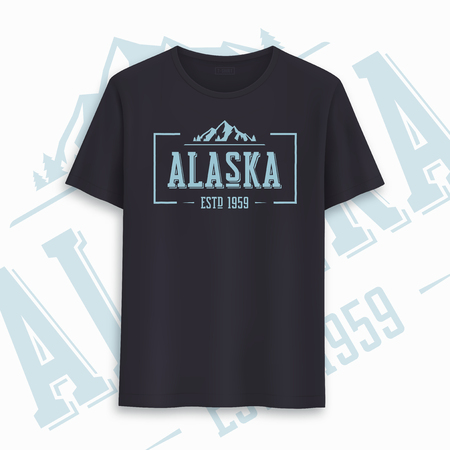 Alaska state graphic t-shirt design, typography, print. Vector illustration. Иллюстрация