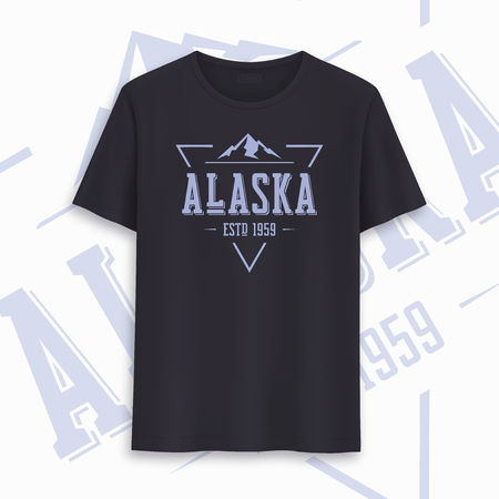 Alaska state graphic t-shirt design, typography, print. Vector illustration. Çizim
