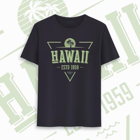 Hawaii state graphic t-shirt design, typography, print. Vector illustration  イラスト・ベクター素材
