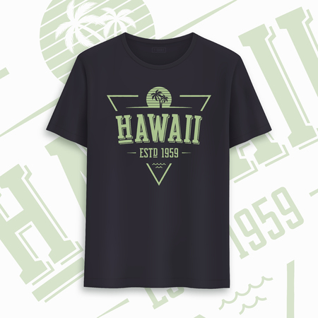 Hawaii state graphic t-shirt design, typography, print. Vector illustration Illustration