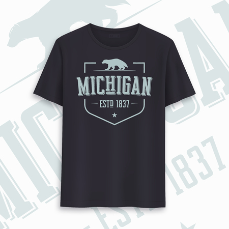 Michigan state graphic t-shirt design, typography, print. Vector illustration Иллюстрация