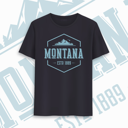 Montana state graphic t-shirt design, typography, print. Vector illustration.