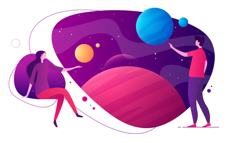 Colorful vector illustration on the topic of space, imagination, exploring, innovation, virtual and augmented reality. Reklamní fotografie - 123381899