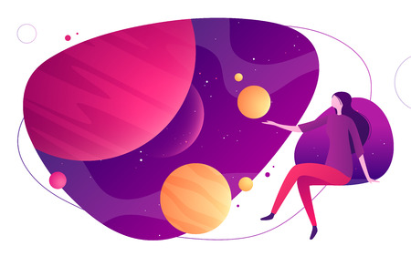 Colorful vector illustration on the topic of space, imagination, exploring, innovation, virtual and augmented reality.
