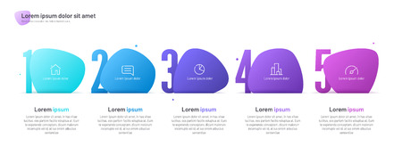 Vector infographic template composed of five numbered abstract shapes.