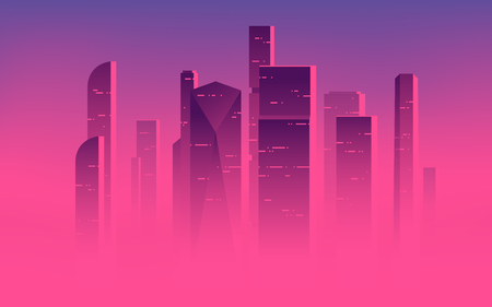 Minimalist vector illustration of a skyscrapers above the clouds, city highrises in a misty fog. Ilustração
