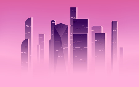 Minimalist vector illustration of a skyscrapers above the clouds, city highrises in a misty fog. Illustration