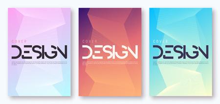 Conjunto de diseño de cubierta geométrica degradado minimalista. Ilustración vectorial