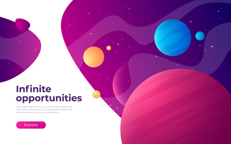 Landing page template on the topic of space, exploring, technologies, virtual and augmented reality. Vector illustration