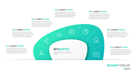 Vector pie chart infographic template in the form of abstract shape divided by seven parts Stok Fotoğraf - 125018564