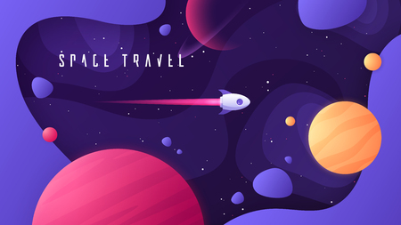Vector illustration on the topic of outer space, interstellar travels, universe and distant galaxies Reklamní fotografie - 125018565