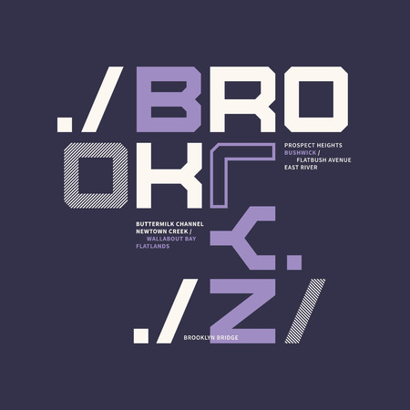 Graphic t-shirt design on the topic of Brooklyn New York City. Illusztráció