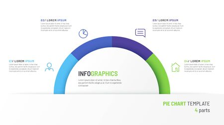 Vector pie chart infographic template in the form of semicircle divided by four parts
