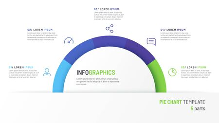 Vector pie chart infographic template in the form of semicircle divided by five parts