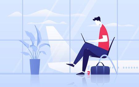 Illustration vectorielle d'un jeune homme avec ordinateur portable assis dans la salle d'embarquement à l'aéroport. Vecteurs