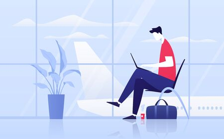 Vector illustration of a young man with laptop sitting in the departure lounge at the airport.