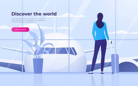 Vector illustration of a traveling young woman looking at the plane at the airport terminal Standard-Bild - 130026223