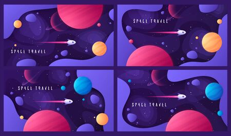 Set of vector illustration on the topic of outer space, interstellar travels, universe and distant galaxies Standard-Bild - 130026232