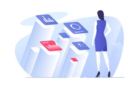 Vector illustration of a businesswoman analyzing data.