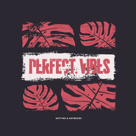 Perfect vibes graphic t-shirt design. Vector illustration 写真素材 - 130026235