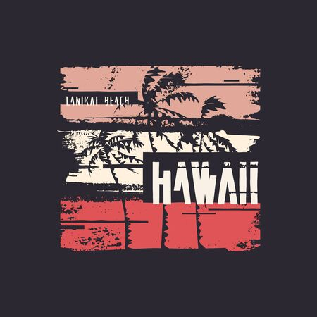 Graphic t-shirt design on the topic of Hawaii. Vector illustration 写真素材 - 130026242