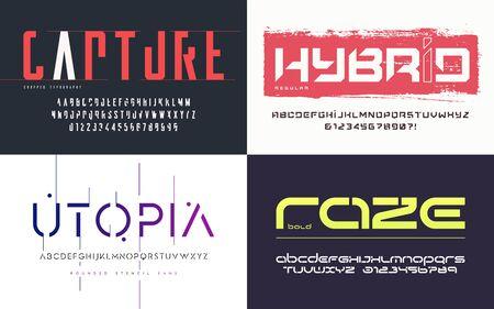 Collection de diverses polices vectorielles à la mode, polices de caractères, alphabets