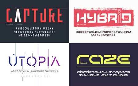 Collection of various trendy vector fonts, typefaces, alphabets 版權商用圖片 - 130026241