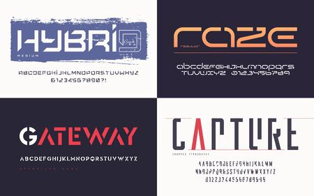 Collection of various trendy vector fonts, typefaces, alphabets